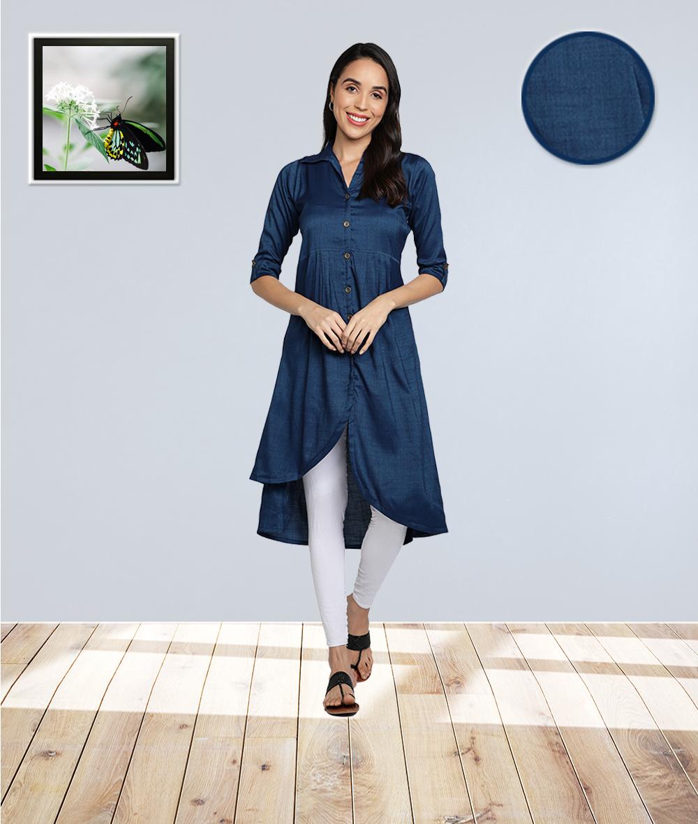 Fabclub | Fabclub Two Tone Rayon Solid Plain Asymmetric A-Line Designer Women Kurta (Blue)