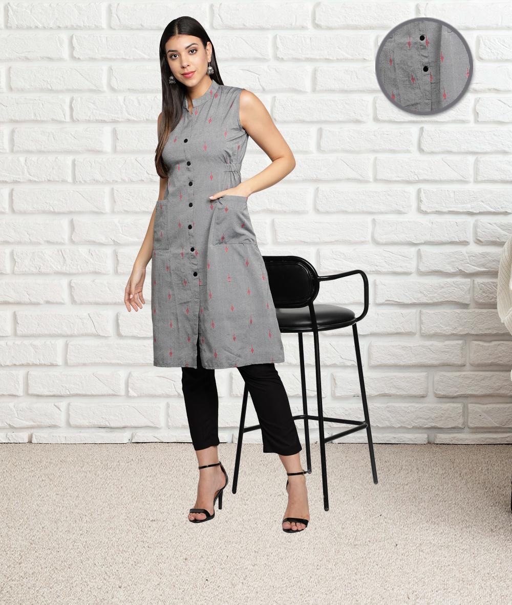 Fabclub | Fabclub Women Cotton Woven Design A-Line Kurta (Grey)
