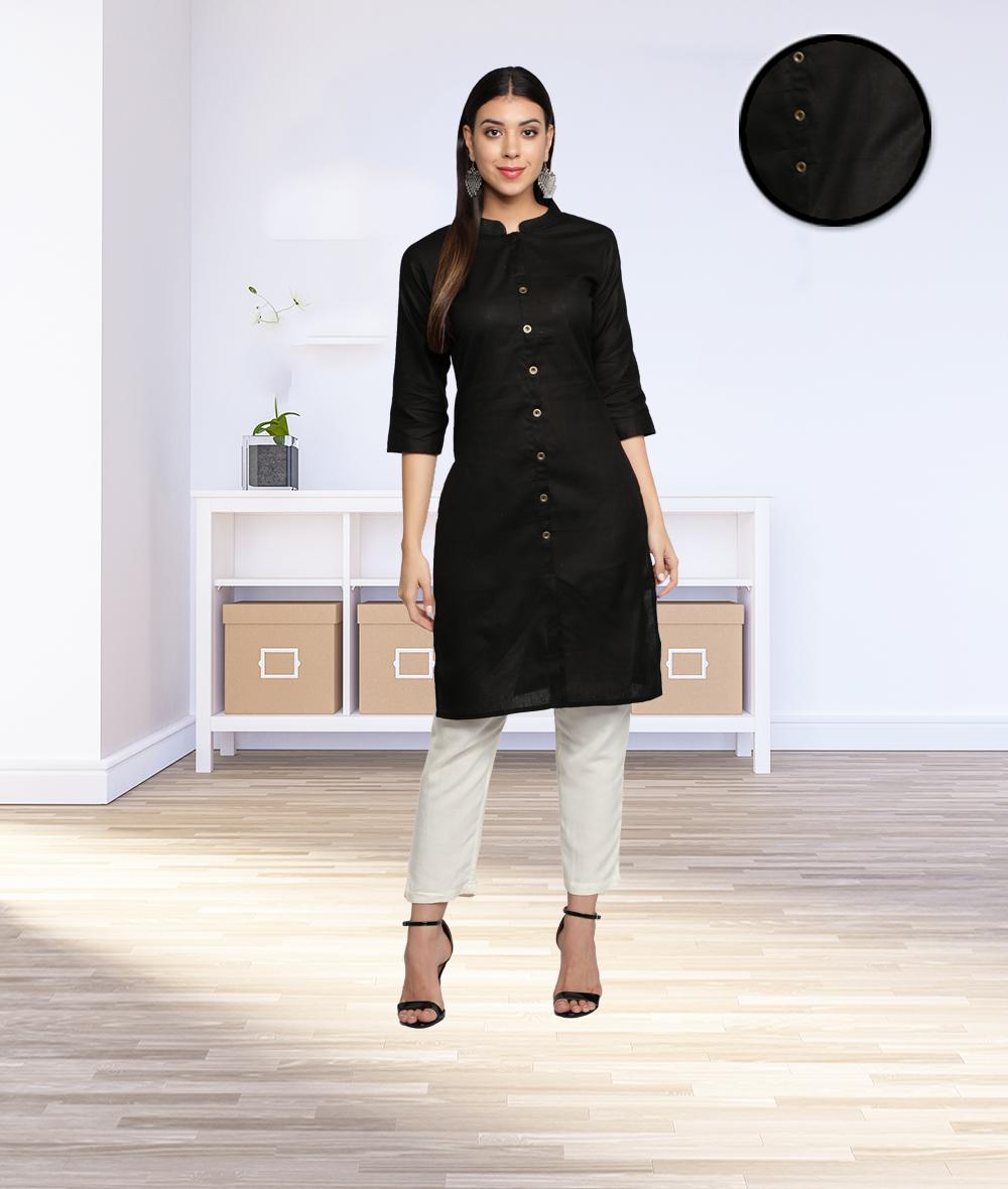Fabclub | Fabclub Cotton Flex Solid Plain Front Slit Straight Women Kurta (Black)