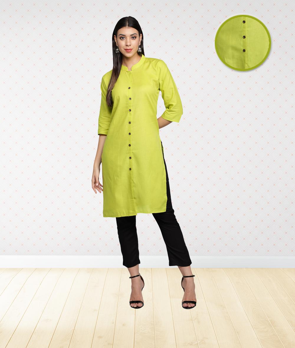 Fabclub | Fabclub Cotton Flex Solid Plain Front Slit Straight Women Kurta (Lime Green)