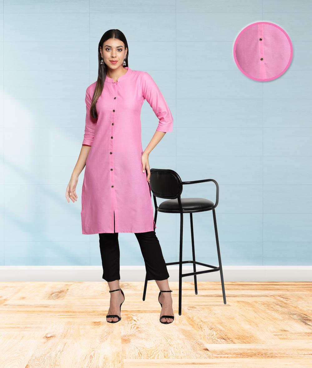 Fabclub | Fabclub Cotton Flex Solid Plain Front Slit Straight Women Kurta (Light Pink)