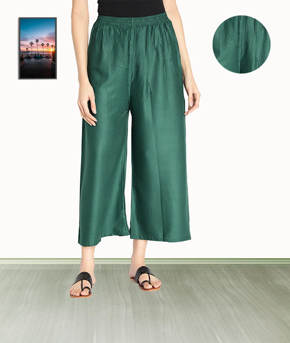 Fabclub | Fabclub Women Heavy Rayon Solid Plain Free Size Palazzo (Dark Green)