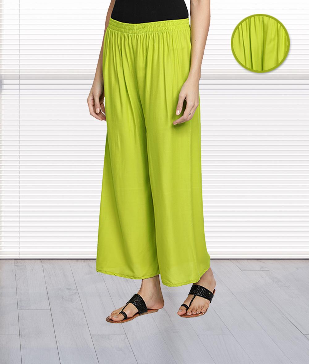 Fabclub | Fabclub Women's Heavy Rayon Solid Plain Free Size Palazzo (Lime Green)