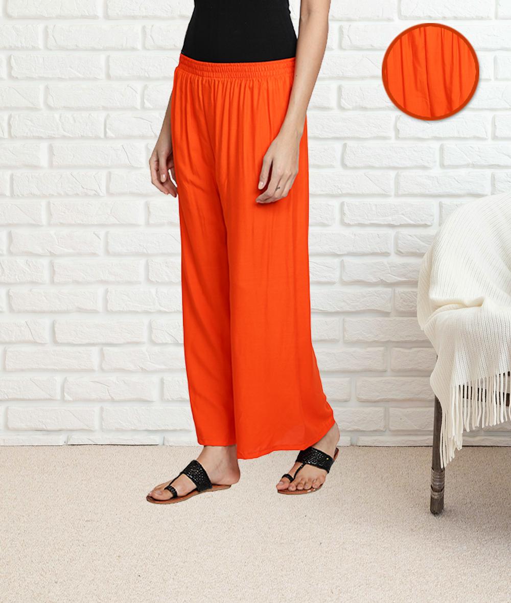 Fabclub   Fabclub Women's Heavy Rayon Solid Plain Free Size Palazzo (Orange)