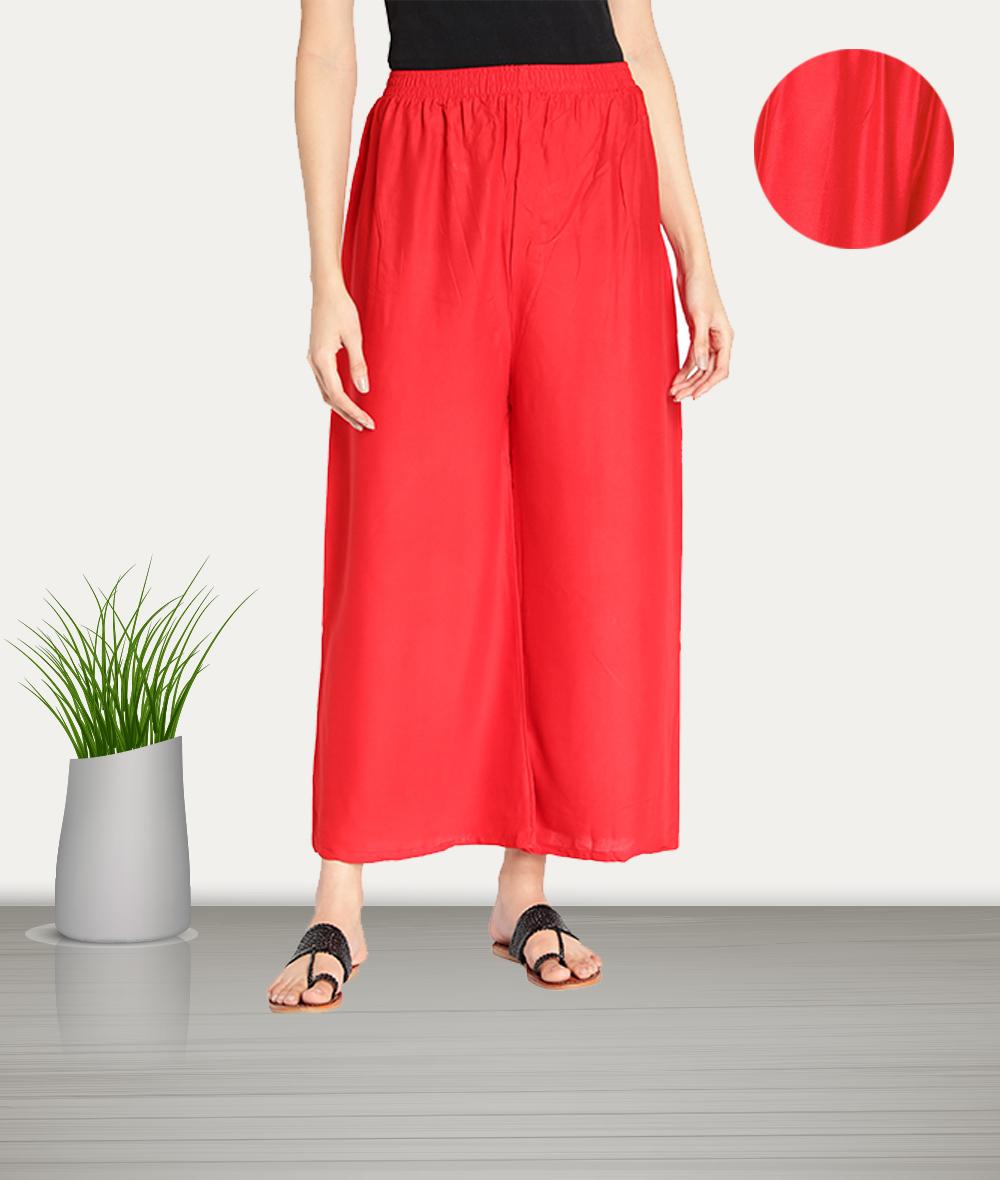 Fabclub | Fabclub Women Heavy Rayon Solid Plain Free Size Palazzo (Red)