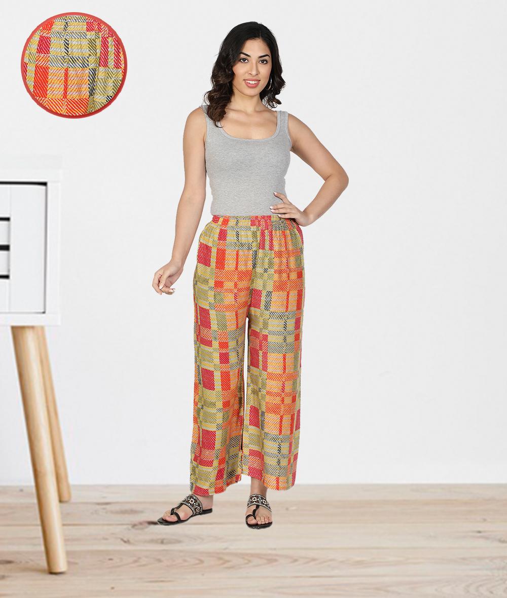Fabclub | Fabclub Women Heavy Rayon Checkered Printed Designer Free Size Palazzo (Multicolor)