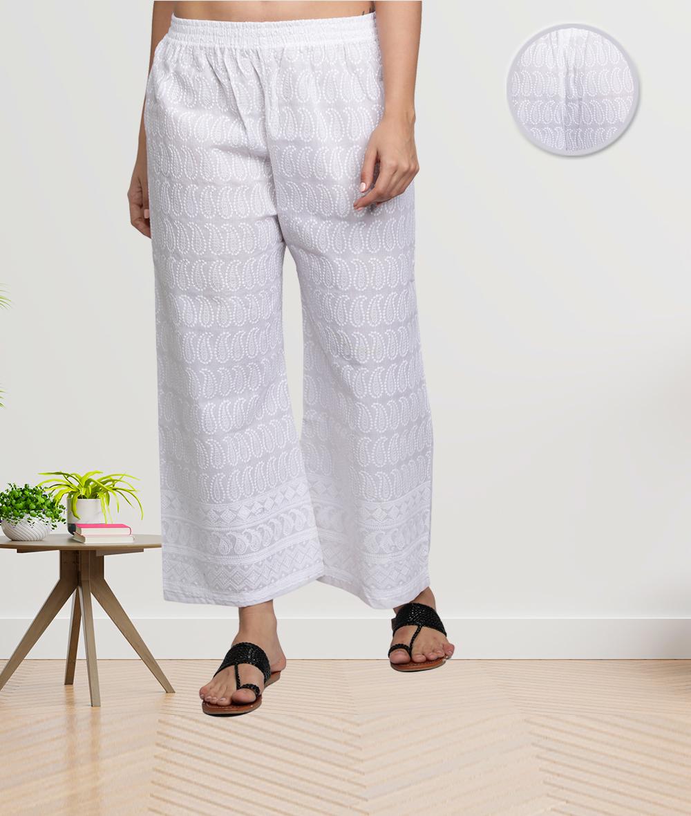 Fabclub | Fabclub Cotton Chikan Free Size Women Palazzo (White)