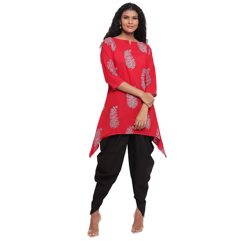 Fabnest | Fabnest Womens Assymetrical Hem Red Printed Cotton Kurta With Black Cotton Dhoti Salwar