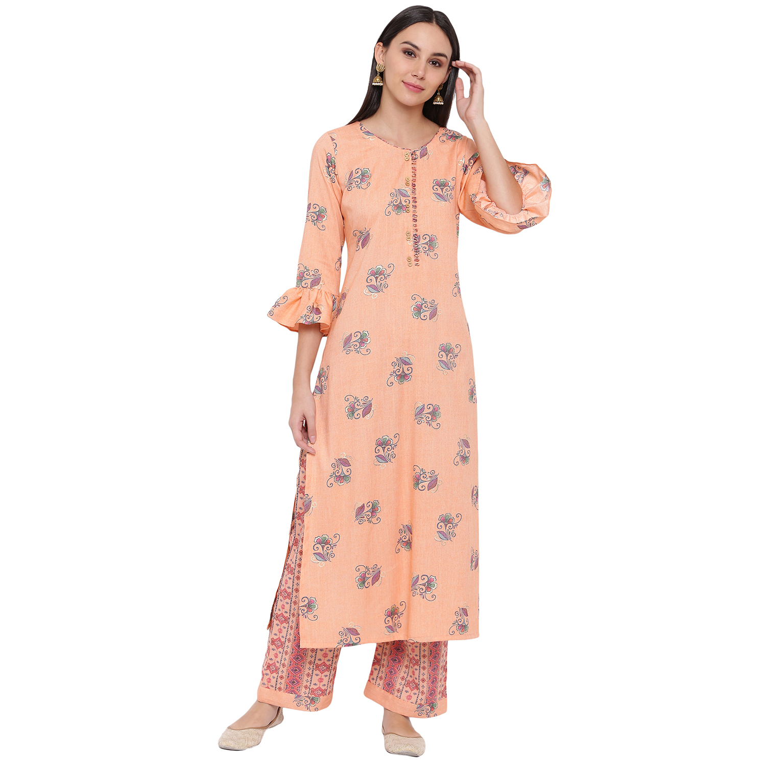 Fabnest | Fabnest womens rayon peach printed kurta and pant set with flounce sleeve and button detailing at the neck