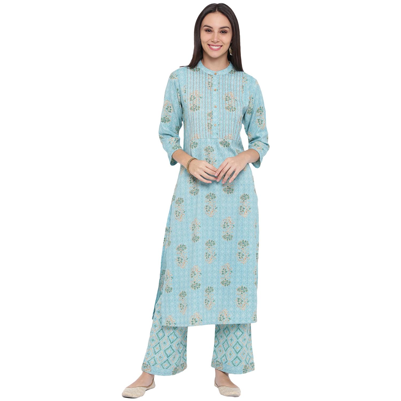 Fabnest | Fabnest womens rayon light blue printed kurta and pant set with contrast stitch detail at yoke.