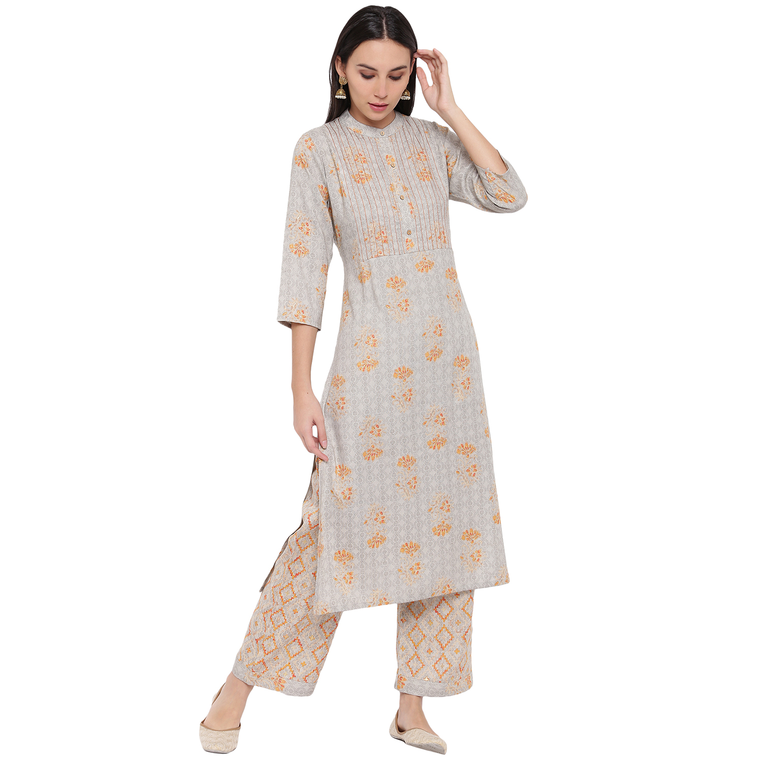 Fabnest | Fabnest womens rayon grey printed kurta and pant set with contrast stitch detail at yoke.