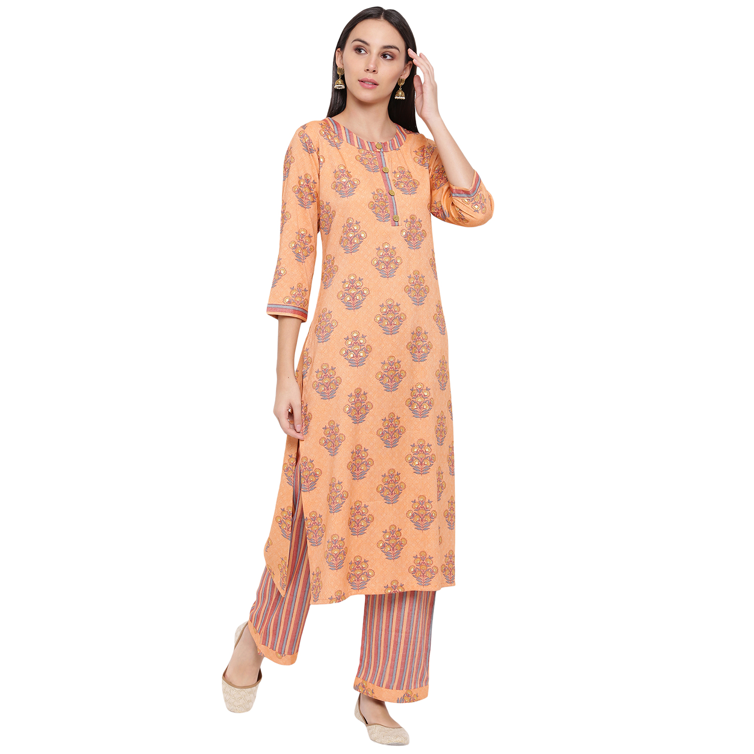 Fabnest | Fabnest womens rayon light orange printed pant and kurta set with round neck and wooden buttons with stripe pants.