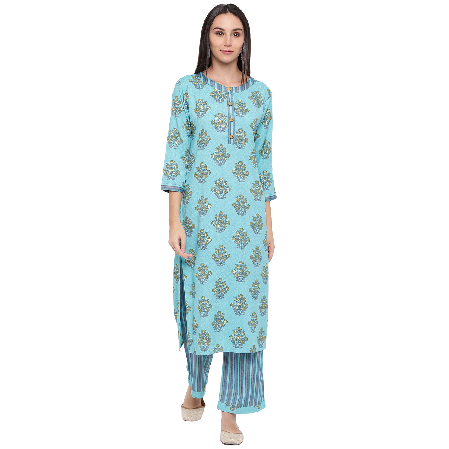 Fabnest | Fabnest womens rayon light blue printed pant and kurta set Kurta with round neck and wooden buttons with stripe pants.