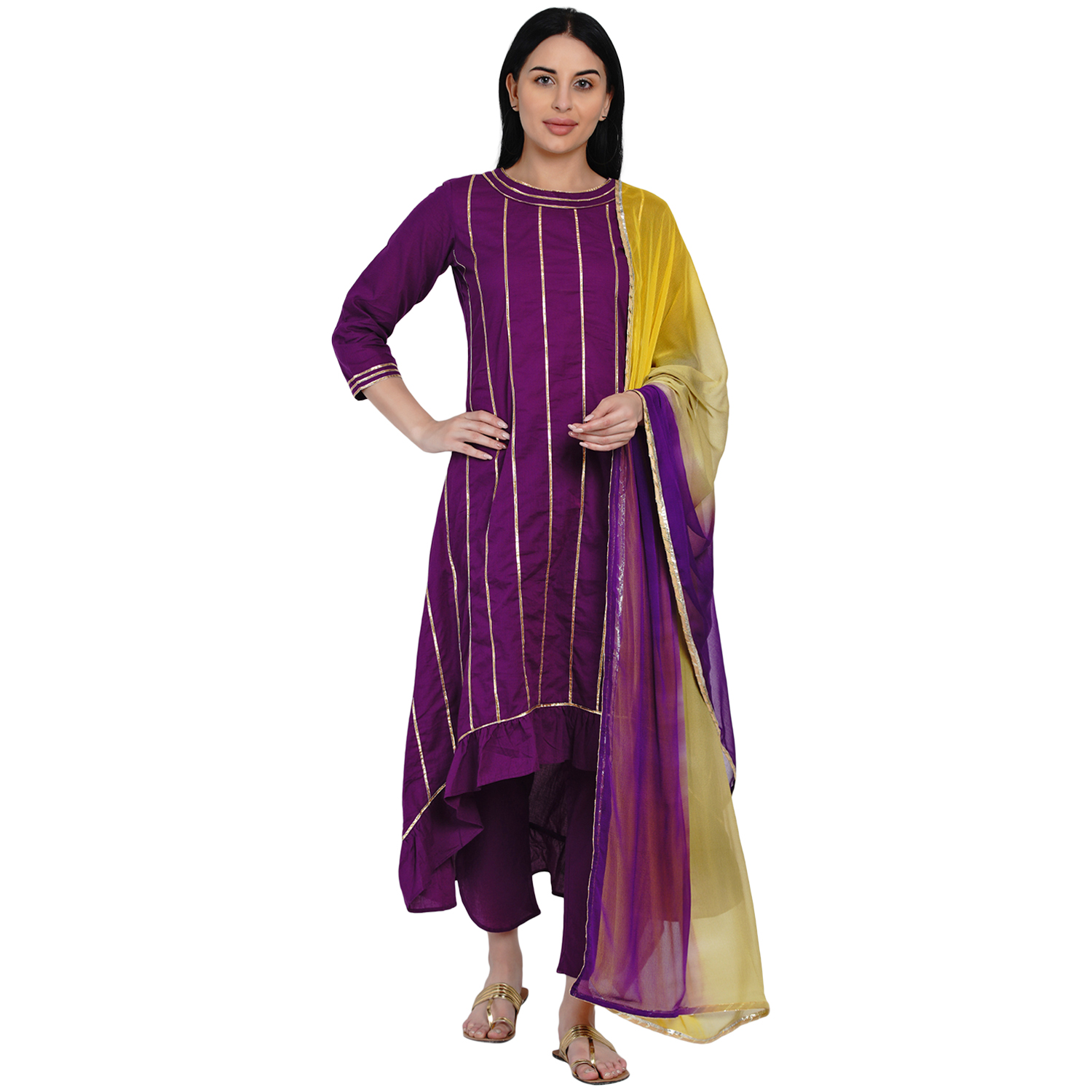 Fabnest   Fabnest Womens Purple Cotton Assymetrical Kurta With Gota And Petal Pant Set Along With Tie And Dye Dupatta With Gota