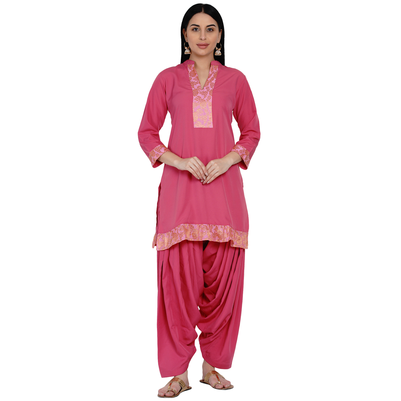 Fabnest   Fabnest Womens Pink Crepe Salwar Set With Brocade Inserts