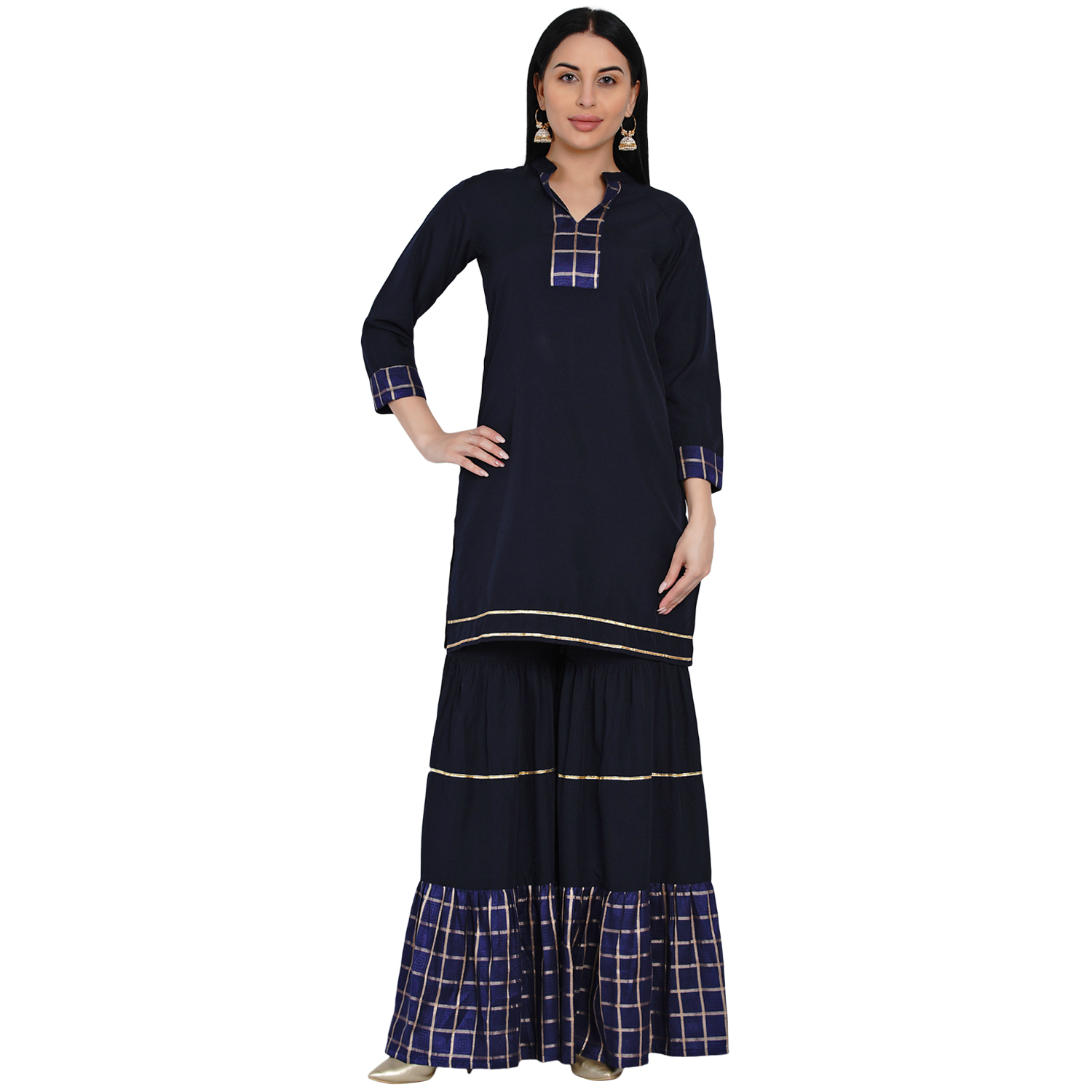 Fabnest | Fabnest Womens Navy Crepe Sharara Set With Brocade Inserts