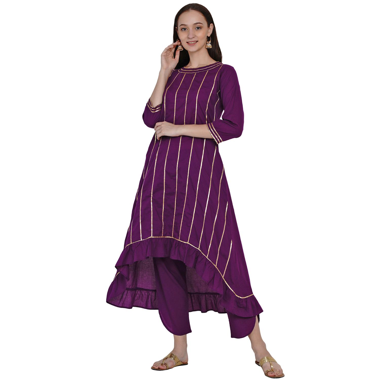 Fabnest | Fabnest Womens Purple Cotton Assymetrical Kurta With Gota And Petal Pant Set