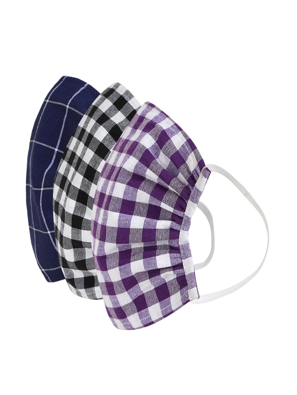 Fabnest | Fabnest Womens Black/White Dark Blue/White Purple/White Check Face Masks Pack Of 3