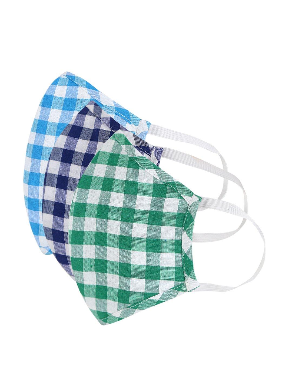 Fabnest | Fabnest Womens Blue/White Light Blue/White Green/White Check Face Masks Pack Of 3