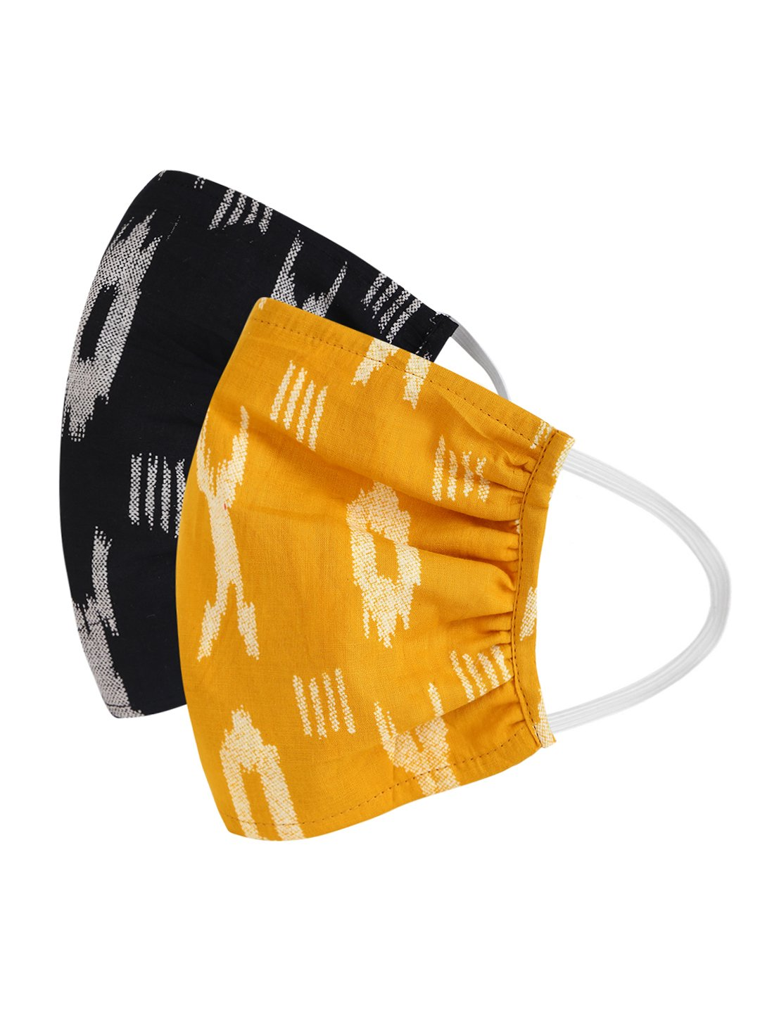 Fabnest | Fabnest Womens Black And Yellow Ikkat Face Masks Pack Of 2