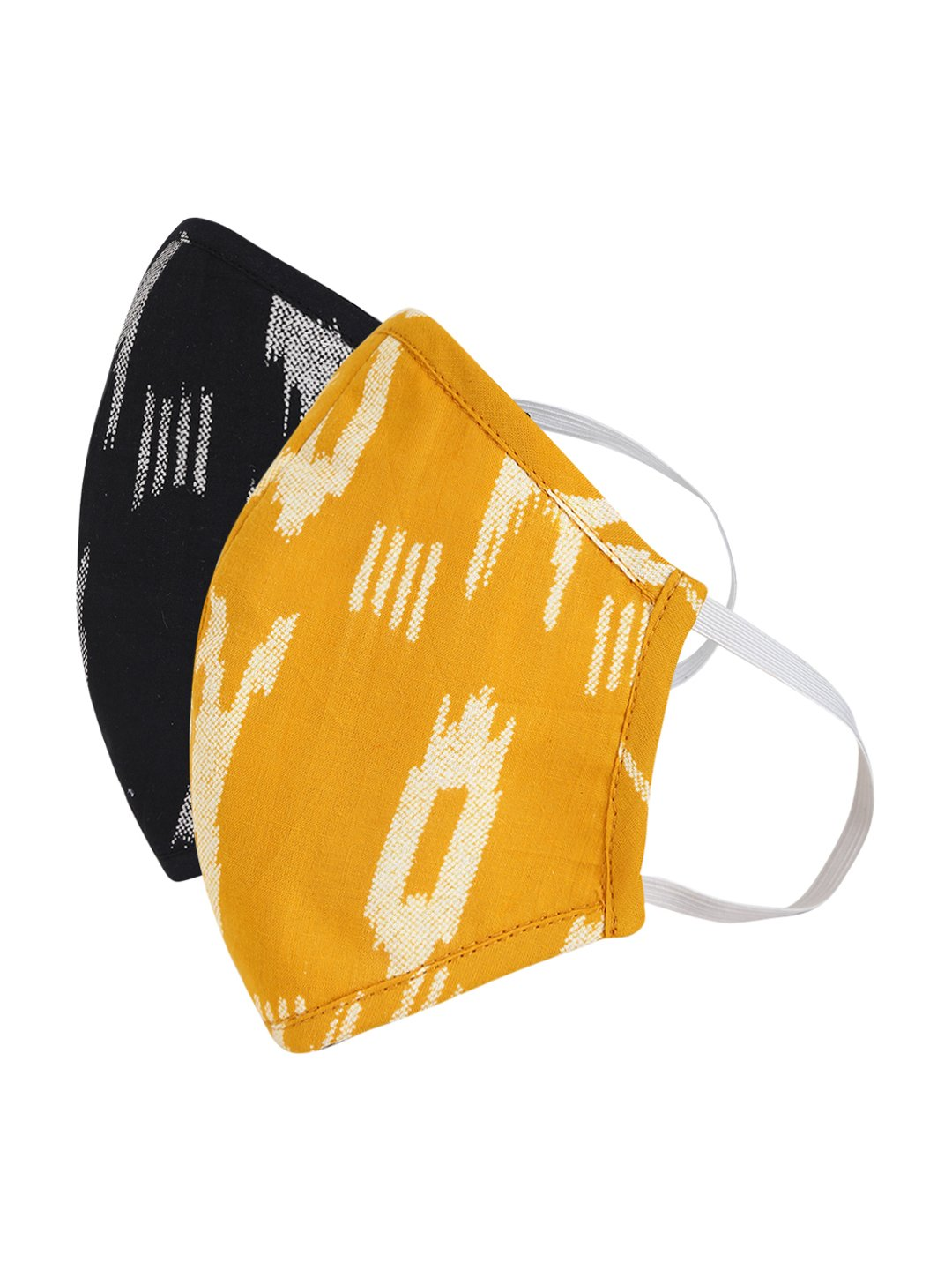 Fabnest | Fabnest Womens Yellow And Black Ikkat Face Masks Pack Of 2