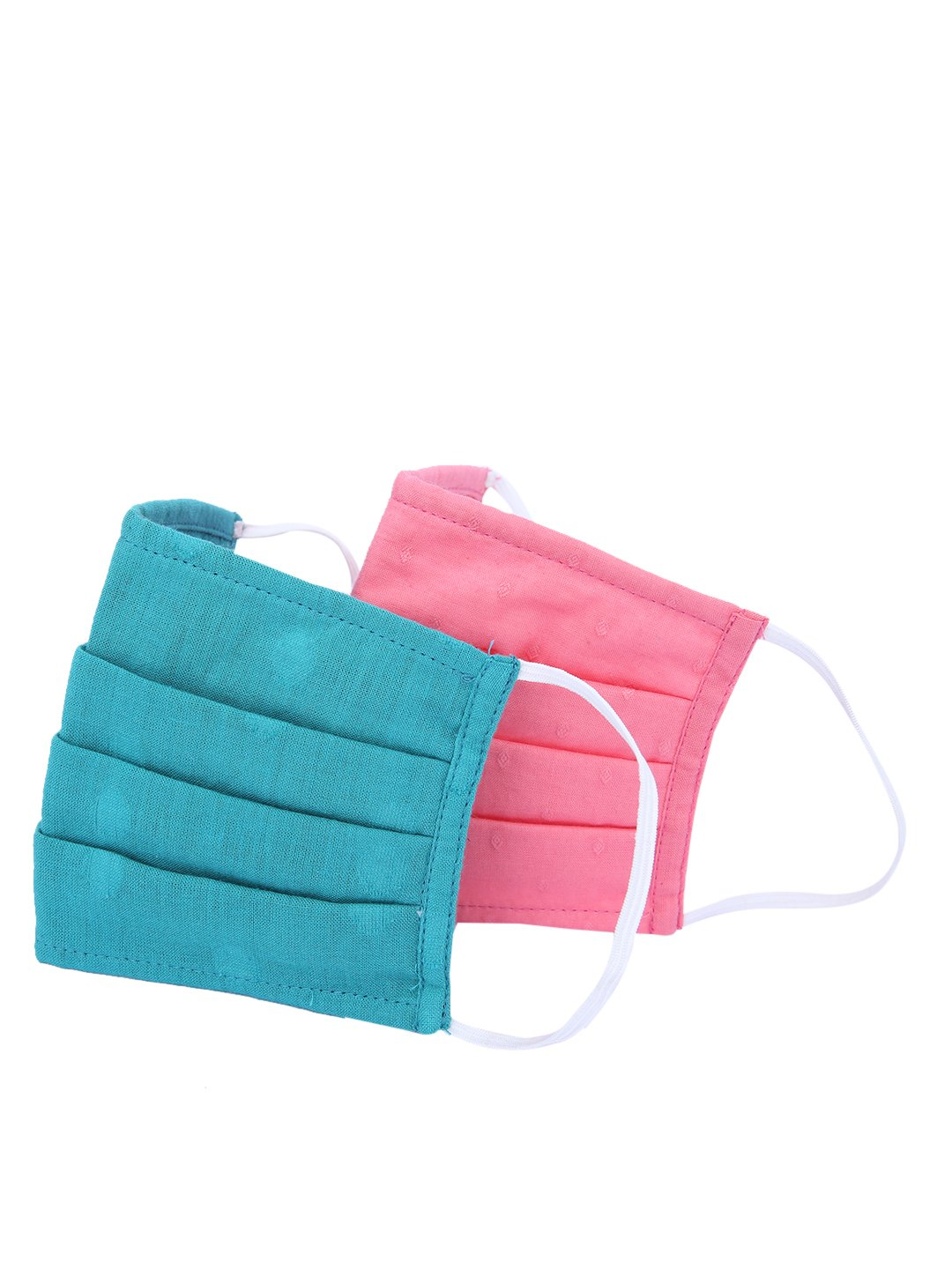 Fabnest   Fabnest Unisex Cotton 3 Ply Blue and Pink Solid Dobby Comfortable Face Masks (Pack Of 2)