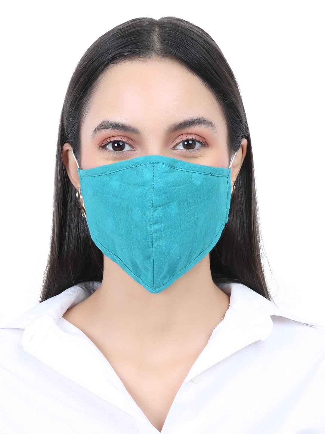 Fabnest   Fabnest Unisex Cotton 3 Ply Pink and Blue Solid Dobby Comfortable Face Masks (Pack Of 2)