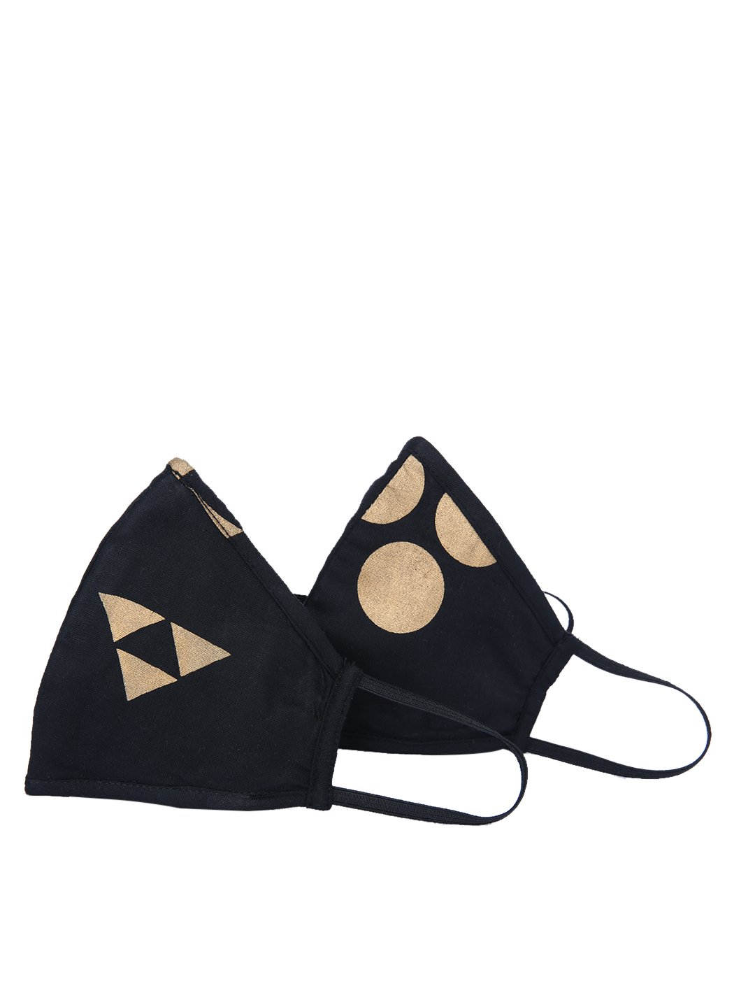 Fabnest | Fabnest Unisex Rayon 3 Ply Gold/Black Foil Print Comfortable Face Masks (Pack Of 2)