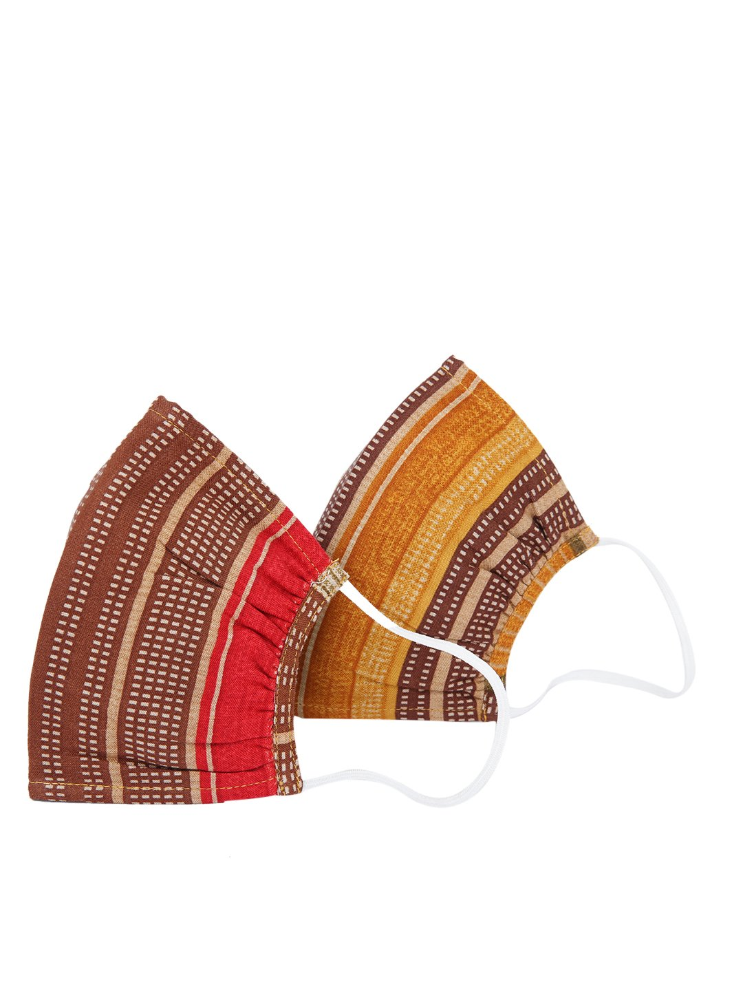 Fabnest   Fabnest Unisex Rayon 3 Ply Red/Brown Multi Printed Comfortable Face Masks (Pack Of 2)