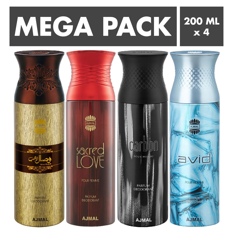 Ajmal | Ajmal Wisal Dhahab & Sacred Love & Carbon & Avid Deodorant Spray- For Men (200 ml, Pack of 4)