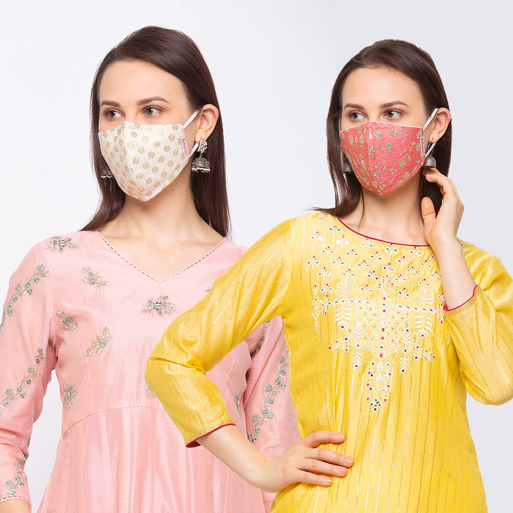 Ethnicity | Ethnicity Off White_Peach pack of 2 Women fashion mask
