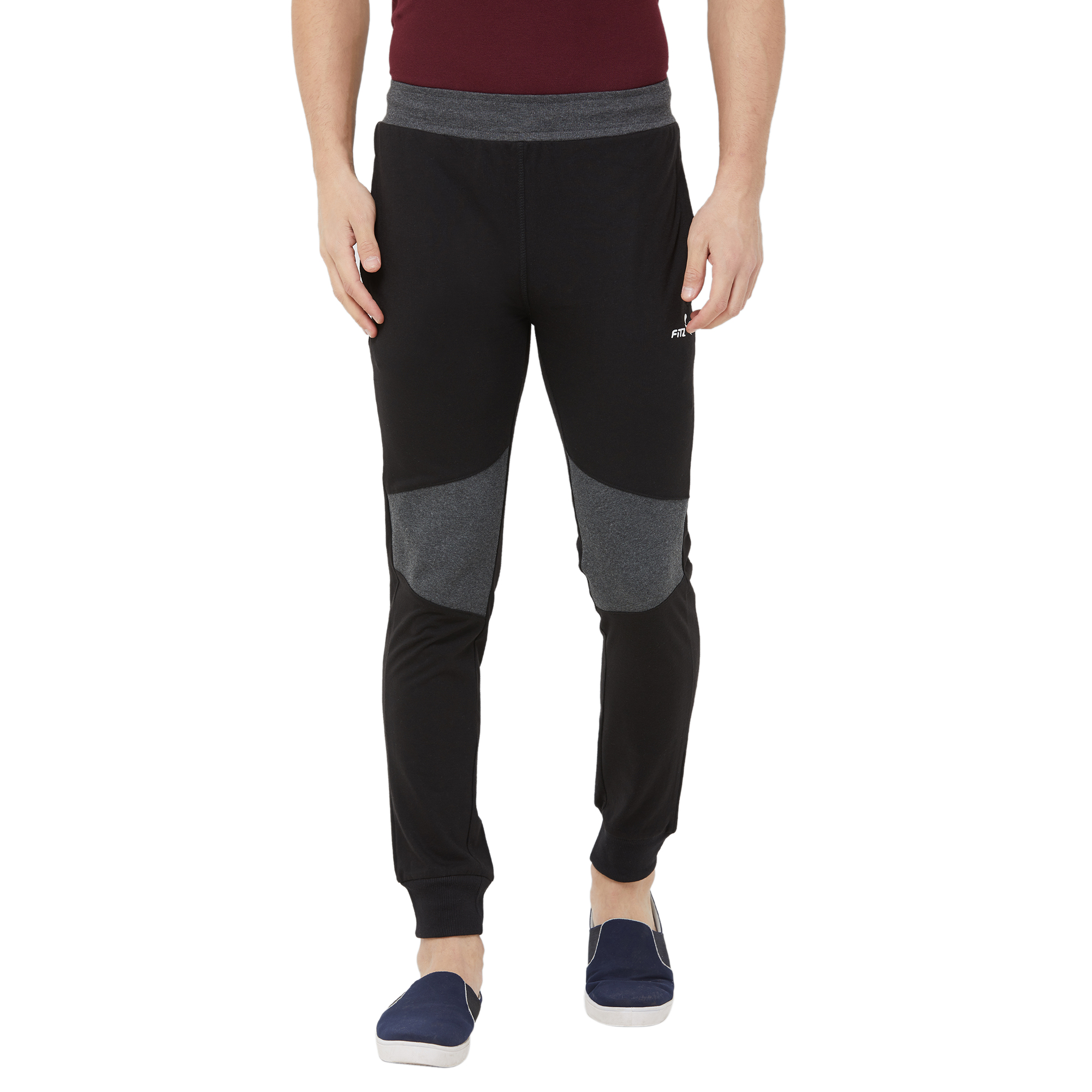 FITZ   Fitz  Cotton Black Loungewear Joggers Track For Mens