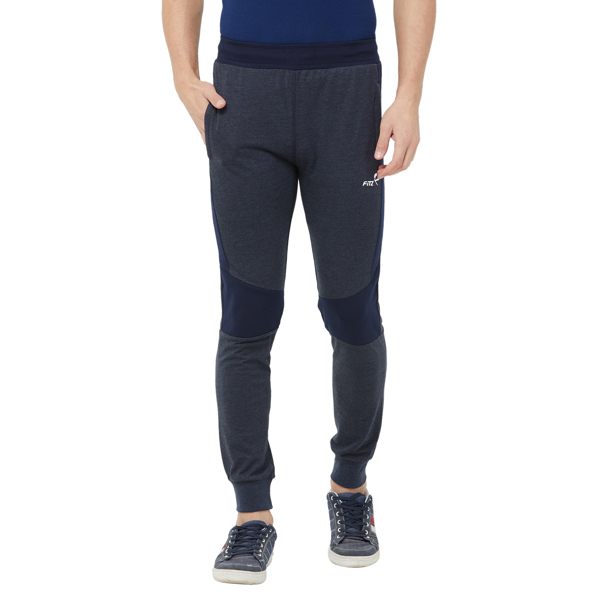 FITZ   Fitz  Cotton Grey Loungewear Joggers Track For Mens