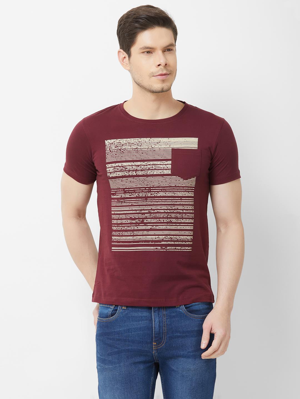 FITZ   Maroon Printed Tshirt