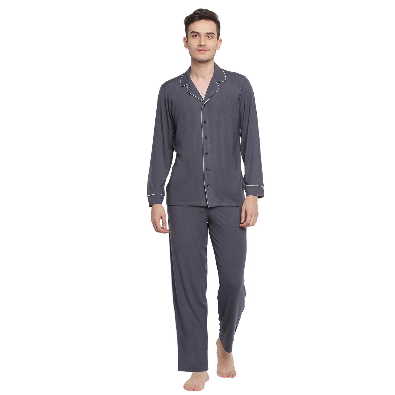 BASIICS by La Intimo | Charcoal Grey Knitted Pyjama Shirt set