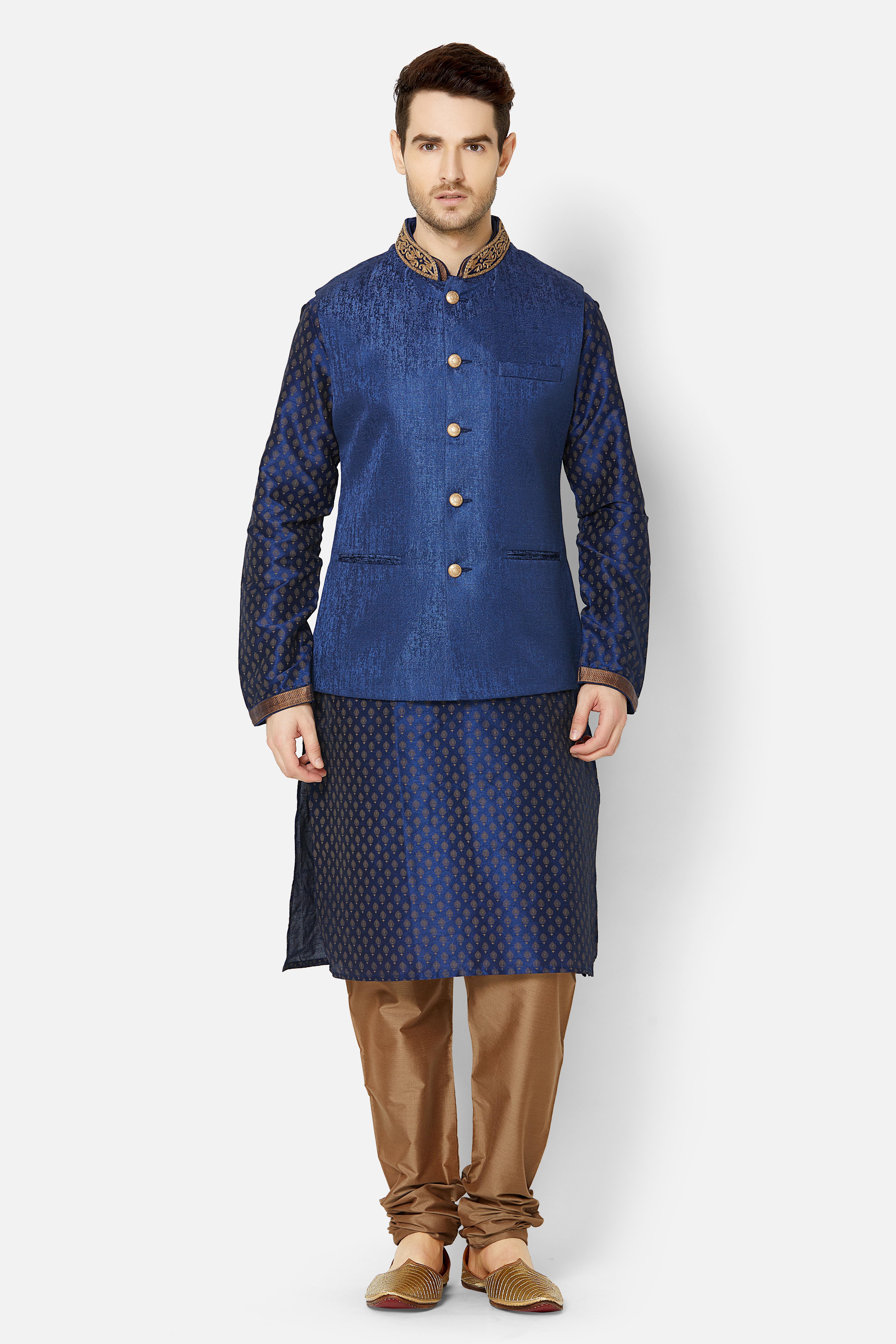 Ethnicity | Navy embroidered sleeveless jacket