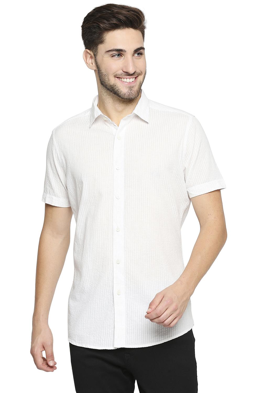 EVOQ | EVOQ Half Sleeves Cotton White Semi-Casual Shirt for Men