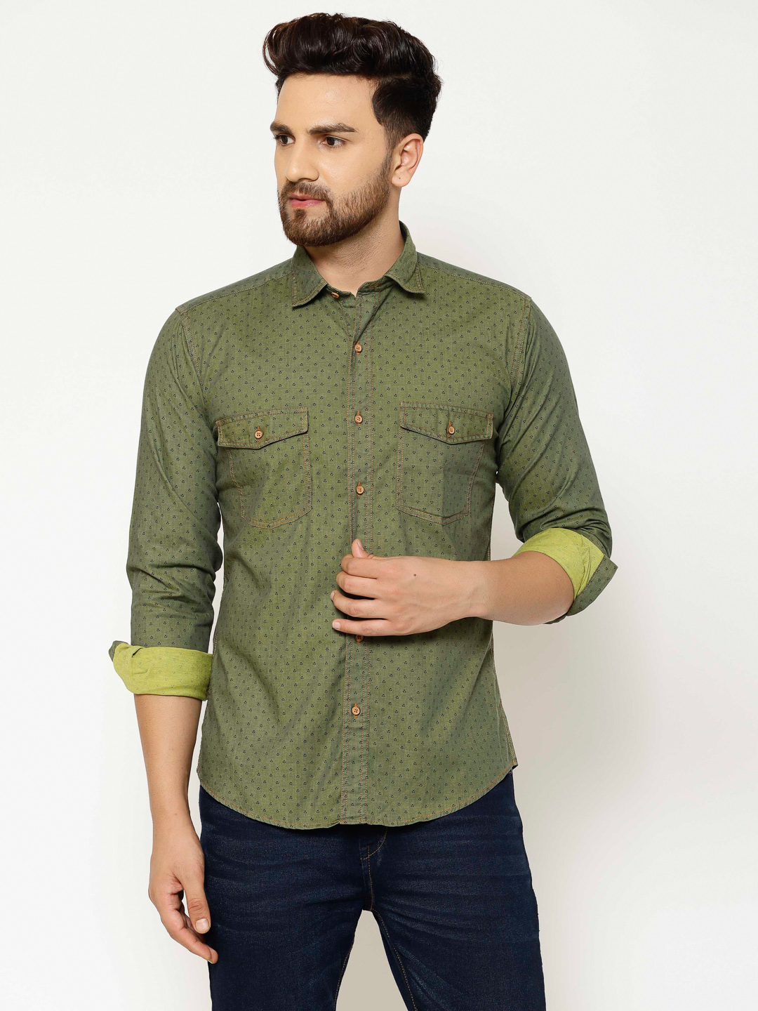 Eppe | EPPE Men's Printed Smart Fit Full Sleeves Cotton Denim Casual Shirt