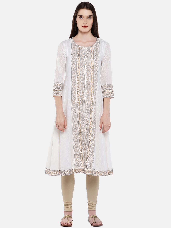 Ethnicity | Ethnicity White Cotton Dobby Women Kurta