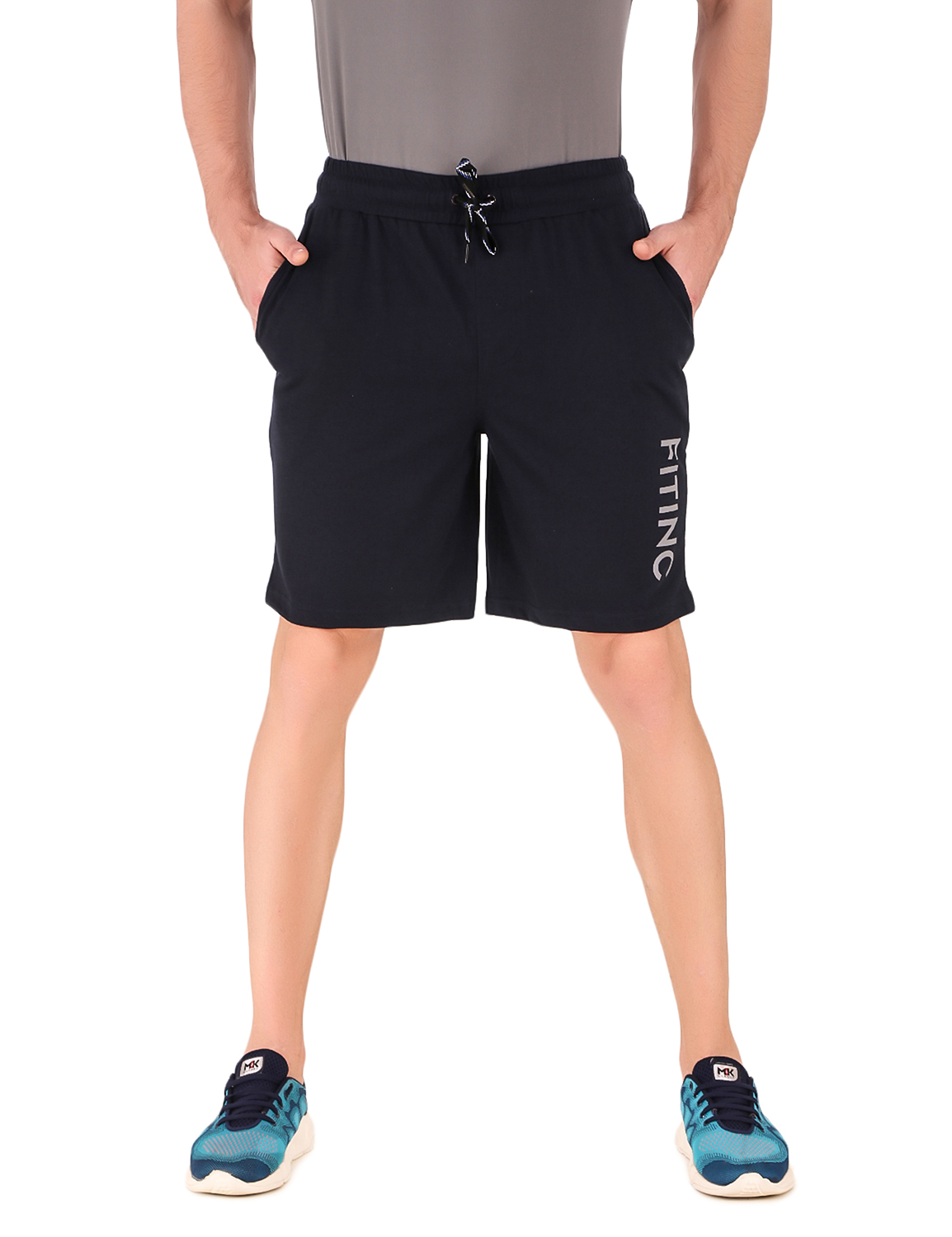 Fitinc | Fitinc Navy Blue Cotton Shorts with Side Pockets and Reflector Logo