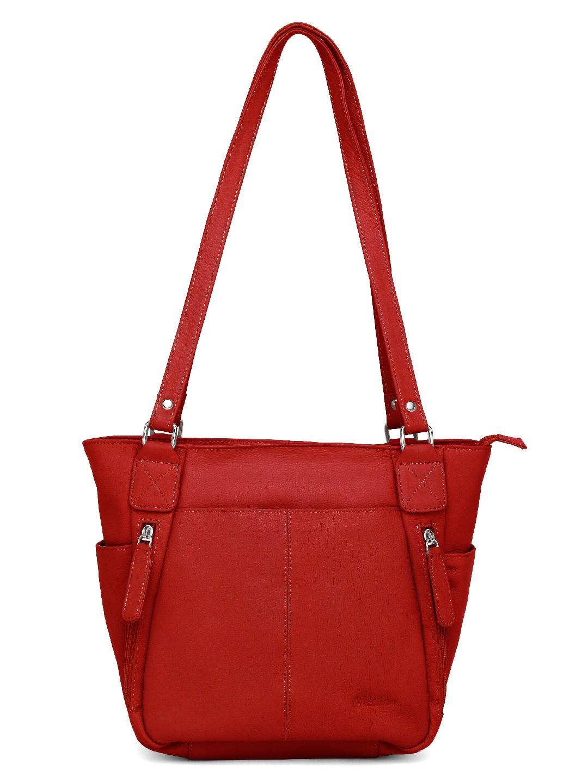 WildHorn    WildHorn Upper Grain Genuine Leather Ladies Tote, Shoulder, Hand Bag - Red