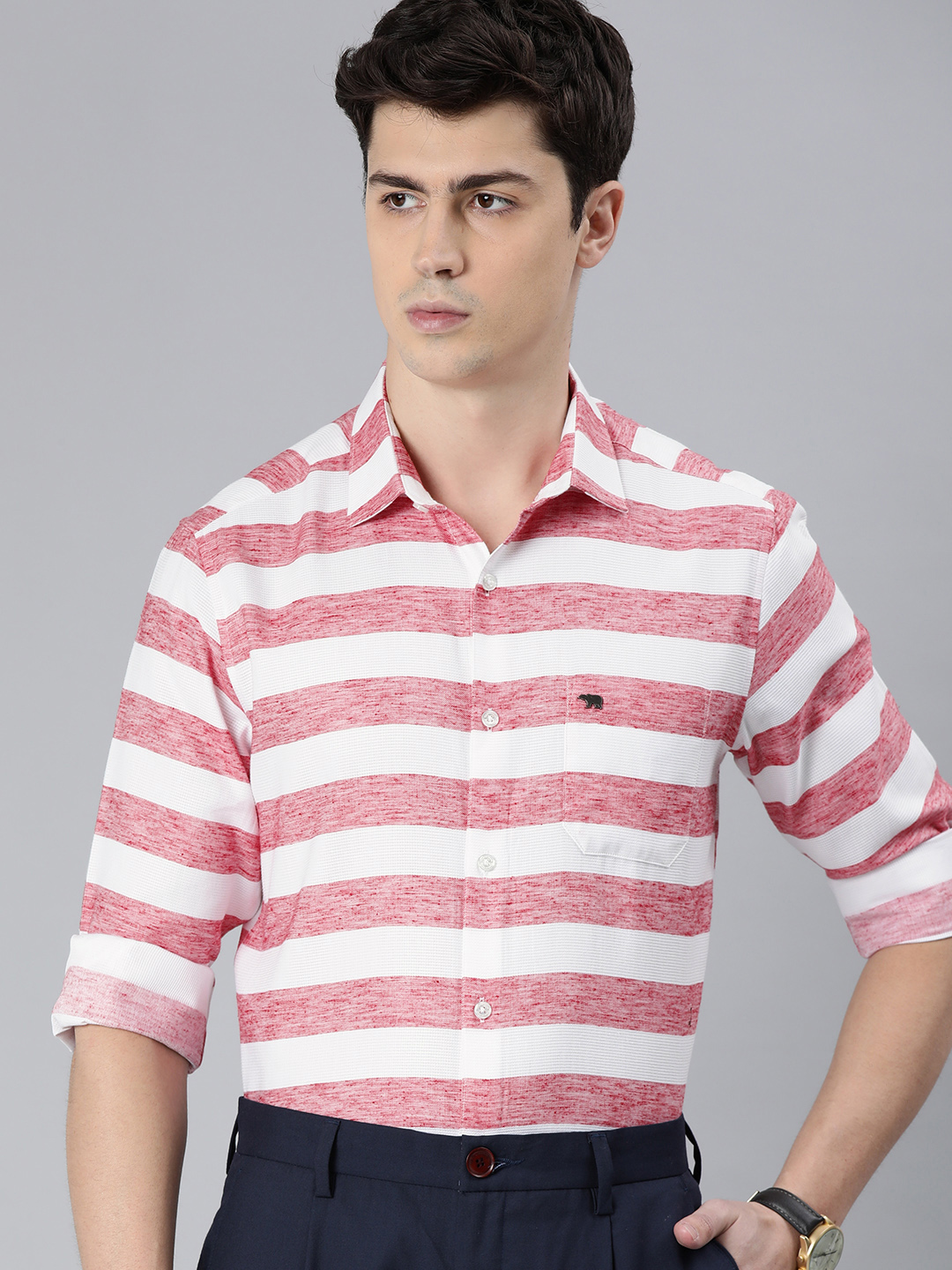 The Bear House | Men's Red Striped Formal Shirt