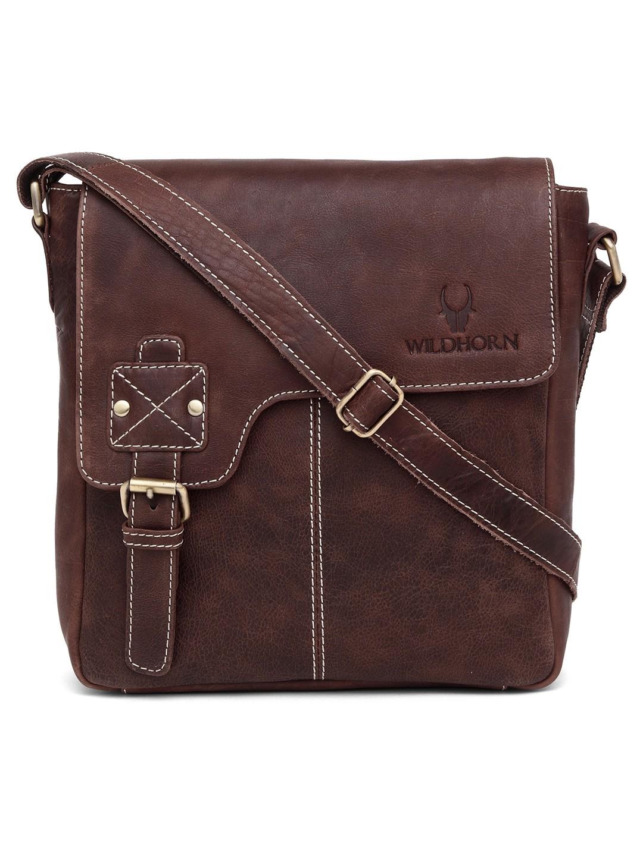 WildHorn | WildHorn Genuine Leather Brown Messenger Bag for Men