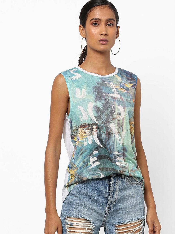GAS | Regular Fit Round Neck Sleeveless Printed Alkira Summer Love Top