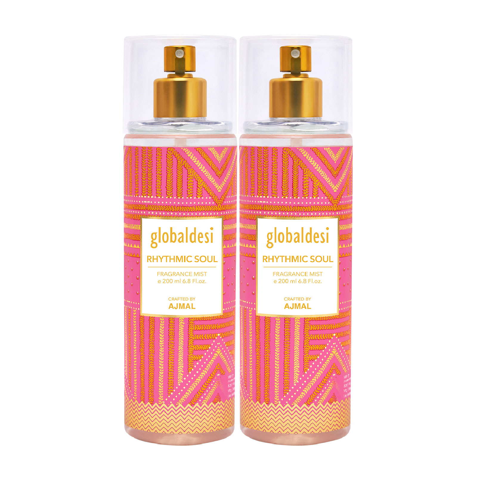 Global Desi Crafted By Ajmal | Global Desi Rhythmic Soul Pack of 2 Body Mist 200ML each for Women Crafted by Ajmal  + 2 Parfum Testers