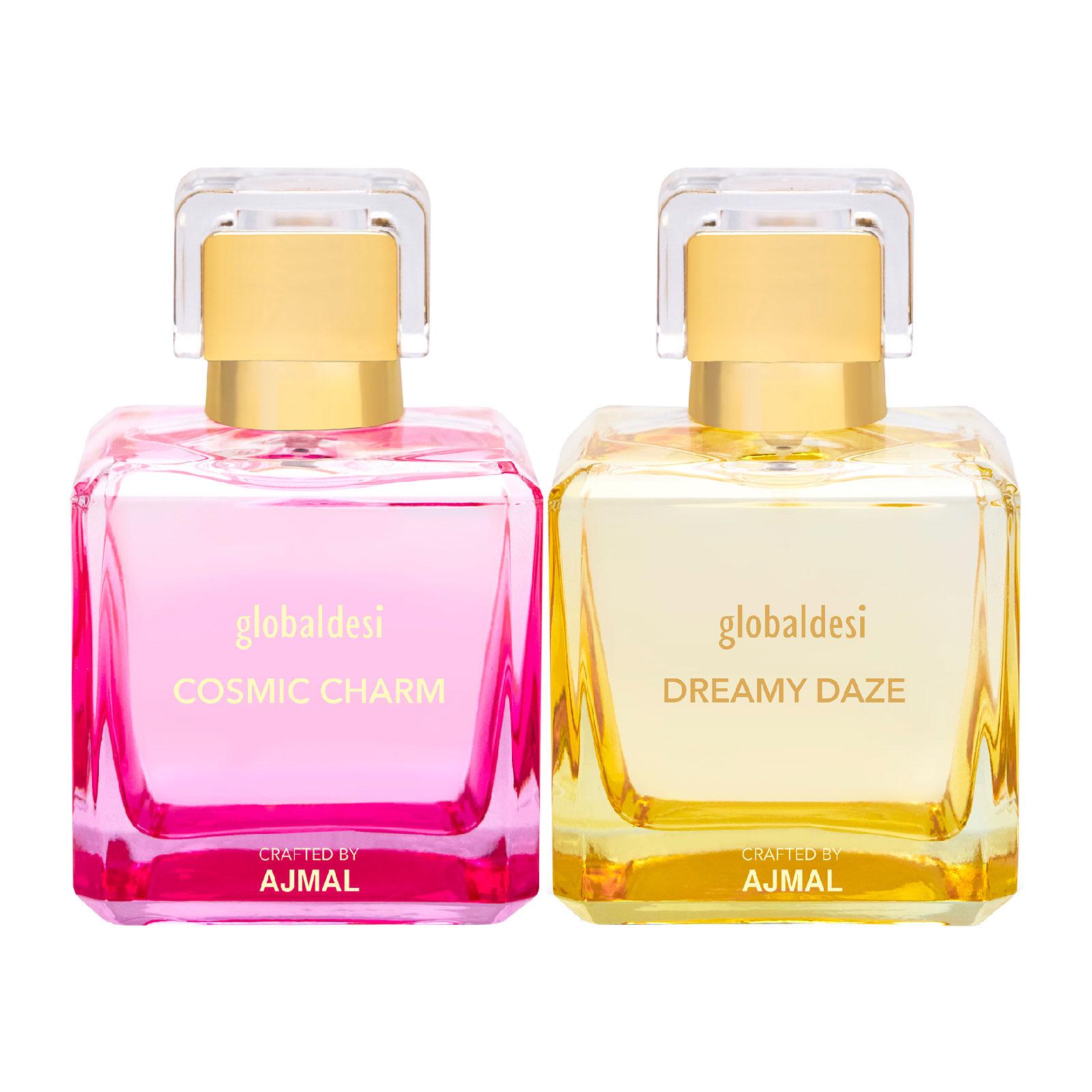 Global Desi Crafted By Ajmal | Global Desi Cosmic Charm & Dreamy Daze Pack of 2 Eau De Parfum 50ML for Women Crafted by Ajmal + 2 Parfum Testers