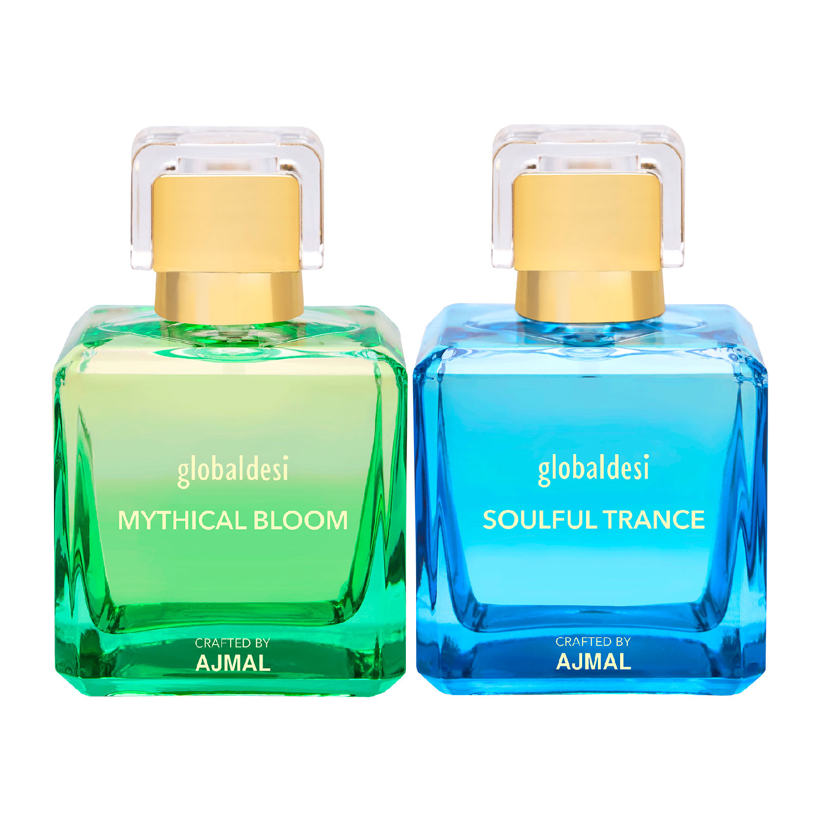 Global Desi Crafted By Ajmal | Global Mythical Bloom & Soulful Trance Pack of 2 Eau De Parfum 100ML for Women Crafted by Ajmal + 2 Parfum Testers