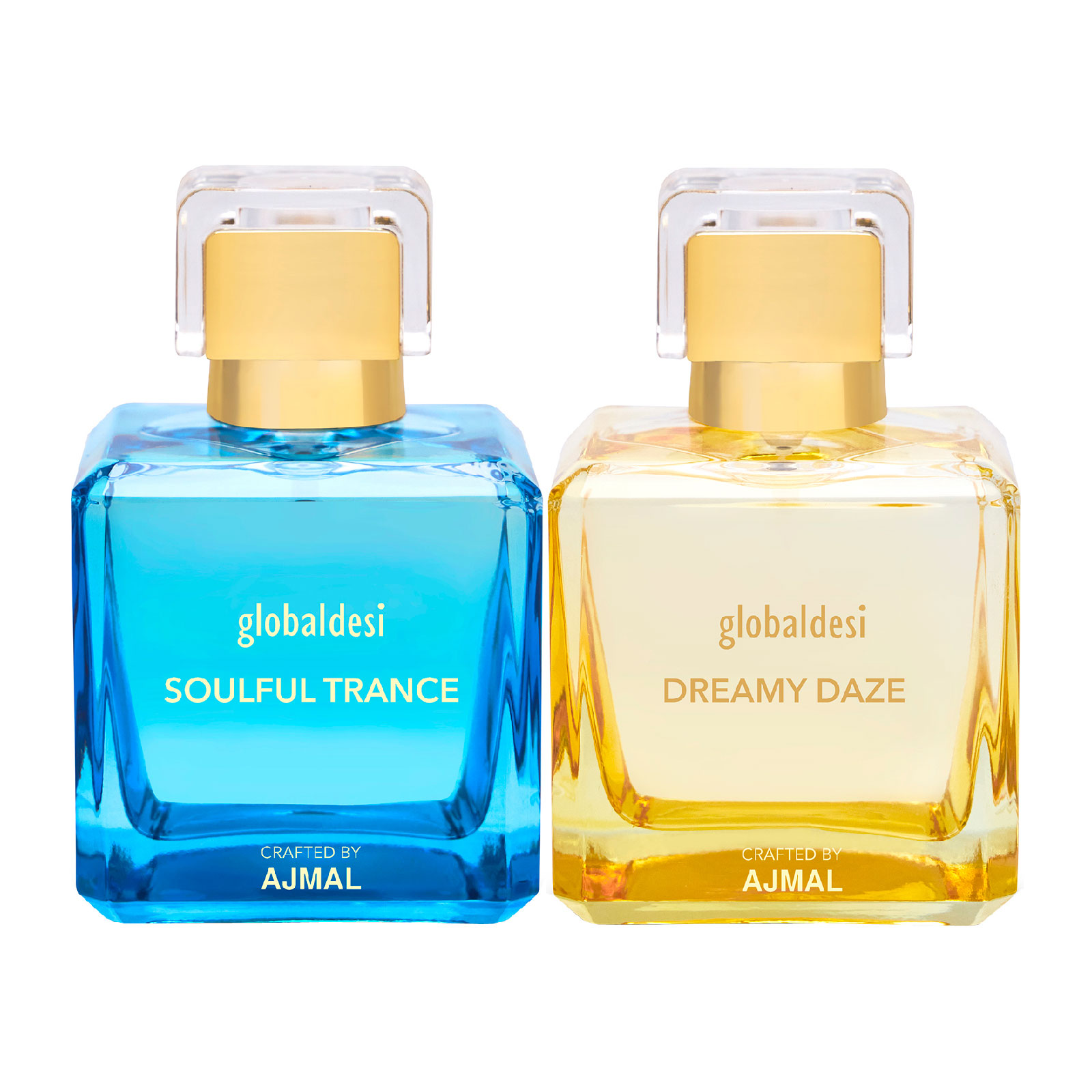 Global Desi Crafted By Ajmal | Global Desi Soulful Trance & Dreamy Daze Pack of 2 Eau De Parfum 100ML for Women Crafted by Ajmal + 2 Parfum Testers