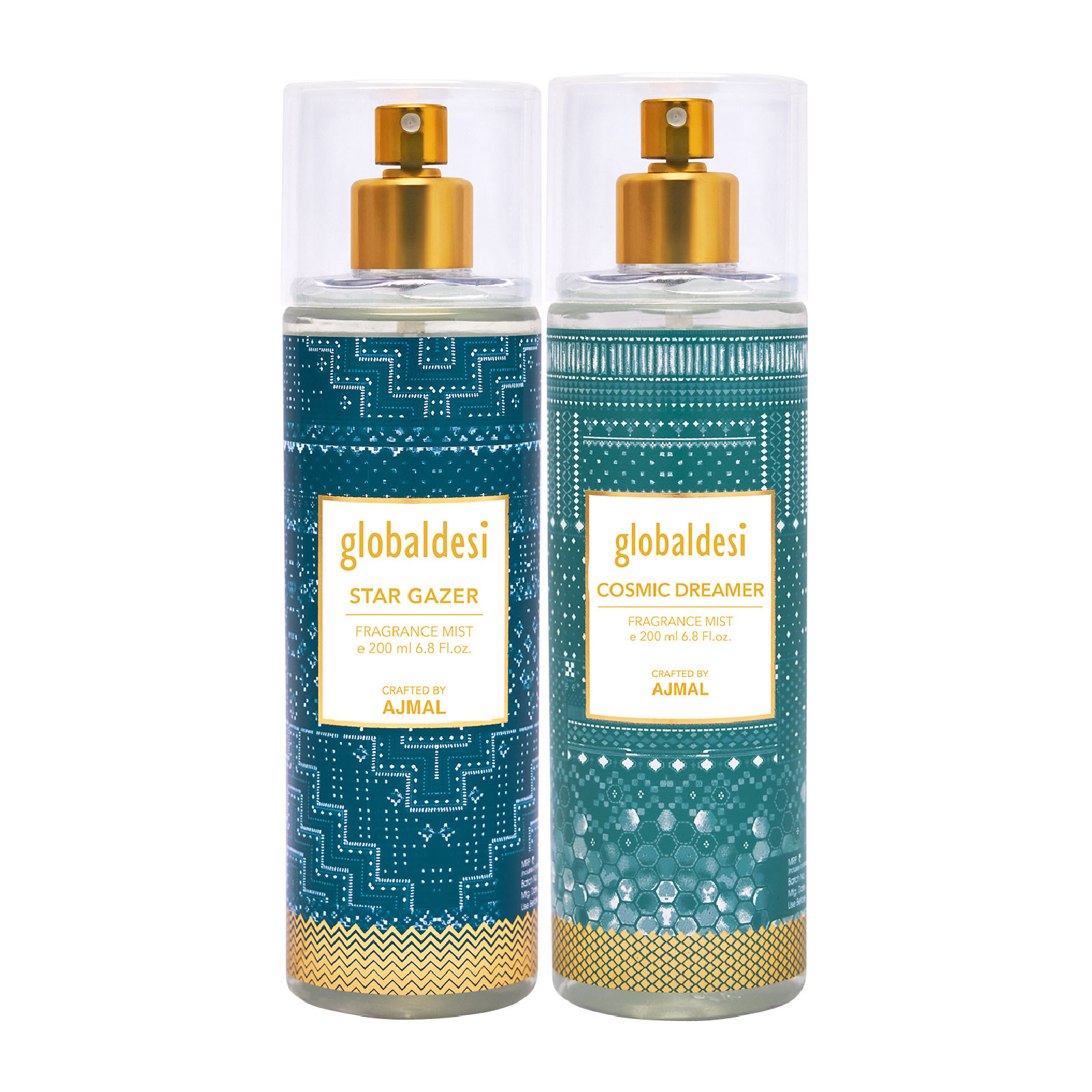 Global Desi Crafted By Ajmal | Global Desi Star Gazer & Cosmic Dreamer Pack of 2 Body Mist 200ML each for Women Crafted by Ajmal  + 2 Parfum Testers