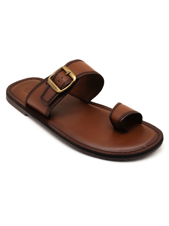 Trends & Trades | Mens Brown Loop Toe Sandals